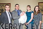 Baby  Tiernan Long with his parents Michael Long & Sarah Quinn, Listowel and god parents Thomas Carey and Sarah Quinn who was christened in St. Mary's Church, Listowel on Saturday last by Canon Declan O'conor and afterwards at the Listowel Arms Hotel.