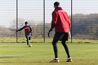Aaron Lewis crosses the ball during the Swansea City Training at The Fairwood Training Ground, Swansea, Wales, UK. Thursday 11 January 2018