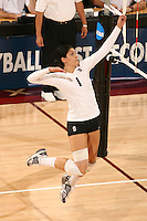 30 November 2007: Cynthia Barboza during Stanford's 3-0 win over Santa Clara University in the first round of the NCAA Division 1 Women's Volleyball Championships in Maples Pavilion in Stanford, CA.