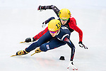 Ha-Ri Cho of Korea being followed during the Short Track Speed Skating as part of the 2014 Sochi Olympic Winter Games at Iceberg Skating Palace on February 10, 2014 in Sochi, Russia. Photo by Victor Fraile / Power Sport Images