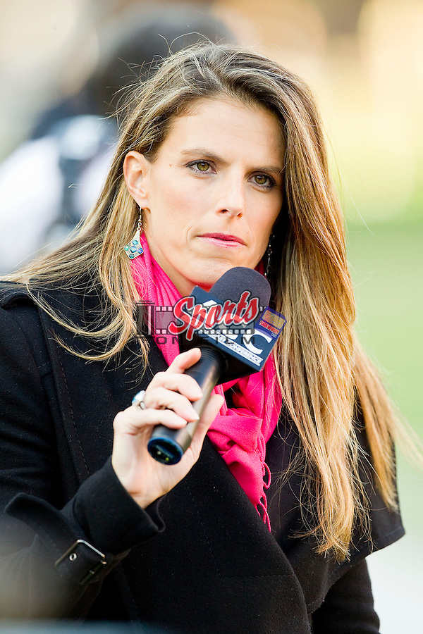 Jenn Hildreth reports from the sidelines during the ACC football game between the Boston College Eagles and the Wake Forest Demon Deacons at BB&T Field on November 3, 2012 in Winston-Salem, North Carolina.  The Demon Deacons defeated the Eagles 28-14.  (Brian Westerholt/Sports On Film)