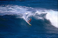 Big wave surfer Ross Clarke Jones (AUS) surfing Papa Tangaroa during a visit to Easter Island, Chile. Circa 1993. Photo: joliphotos.com