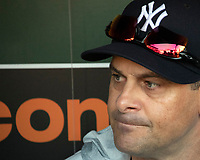 New York Yankees manager Aaron Boone (17) conducts his pregame press conference in the dugout prior to the game against the Baltimore Orioles at Oriole Park at Camden Yards in Baltimore, MD on Tuesday, July 10, 2018.<br /> Credit: Ron Sachs / CNP<br /> (RESTRICTION: NO New York or New Jersey Newspapers or newspapers within a 75 mile radius of New York City) Credit: Ron Sachs/MediaPunch