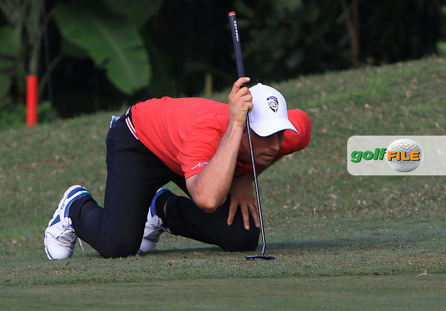 Jamie Elson (ENG) in action on the 7th green during Round 1 of the Maybank Championship at the Saujana Golf and Country Club in Kuala Lumpur on Thursday 1st February 2018.<br /> Picture:  Thos Caffrey / www.golffile.ie<br /> <br /> All photo usage must carry mandatory copyright credit (© Golffile | Thos Caffrey)