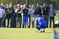 Paul Dunne (IRL) on the 2nd green during Round 3 of the Sky Sports British Masters at Walton Heath Golf Club in Tadworth, Surrey, England on Saturday 13th Oct 2018.<br /> Picture:  Thos Caffrey | Golffile