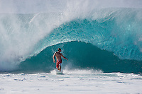 ANDY IRONS (HAW)  escaping from the jaws of a Banzai Pipeline monster. North Shore of Oahu, Hawaii. Photo: joliphotos.com