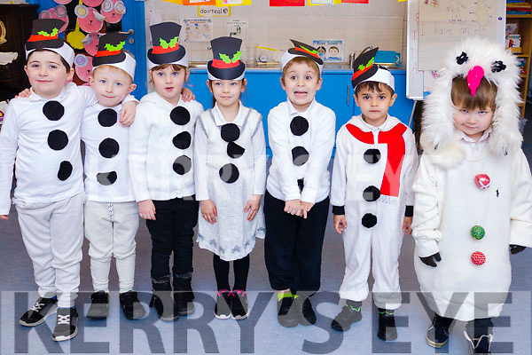 "The Moyerwell National schools infants class getting ready for their ""Children of the World"" Christmas  play on Wednesday morning. L-r Alfie Reidy, Kyle Flaherty, Julia Gasienica, Austeja Jonaviciute, Sebastian Sampedro, Jacob Muntean and Nicholas Neska."