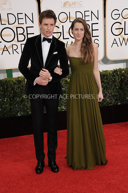 WWW.ACEPIXS.COM<br /> <br /> January 11 2015, LA<br /> <br /> Actor Eddie Redmayne (L) and Hannah Bagshawe arriving at the 72nd Annual Golden Globe Awards at The Beverly Hilton Hotel on January 11, 2015 in Beverly Hills, California<br /> <br /> By Line: Peter West/ACE Pictures<br /> <br /> <br /> ACE Pictures, Inc.<br /> tel: 646 769 0430<br /> Email: info@acepixs.com<br /> www.acepixs.com