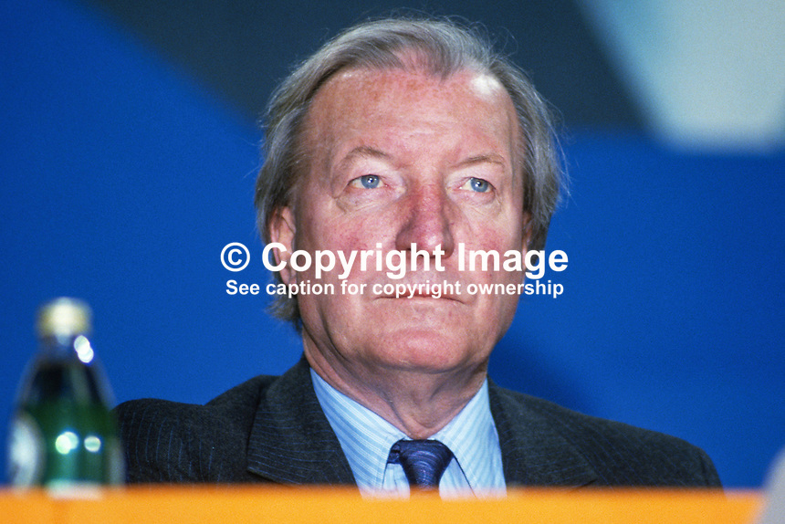 Charles Haughey, leader, Fianna Fail, Rep of Ireland, on the platform during his political party's annual conference in Dublin. 19860407CH5.<br /> <br /> Copyright Image from Victor Patterson,<br /> 54 Dorchester Park, <br /> Belfast, UK, BT9 6RJ<br /> <br /> t1: +44 28 9066 1296 (from Rep of Ireland 048 9066 1296)<br /> t2: +44 28 9002 2446 (from Rep of Ireland 048 9002 2446)<br /> <br /> m: +44 7802 353836<br /> <br /> e: victorpatterson@me.com<br /> www.victorpatterson.com<br /> <br /> Please see my Terms and Conditions of Use at www.victorpatterson.com. It is IMPORTANT that you familiarise yourself with them.<br /> <br /> Images used on the Internet must be visibly watermarked i.e. &copy; Victor Patterson<br /> within the body of the image and copyright metadata must not be deleted. Images <br /> used on the Internet have a size restriction of 4kbs and will be chargeable at current<br />  NUJ rates unless agreed otherwise.<br /> <br /> This image is only available for the use of the download recipient i.e. television station, newspaper, magazine, book publisher, etc, and must not be passed on to any third <br /> party. It is also downloaded on condition that each and every usage is notified within 7 days to victorpatterson@me.com<br /> <br /> The right of Victor Patterson to be identified as the author is asserted in accordance with The Copyright Designs And Patents Act (1988). All moral rights are asserted.