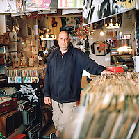 Andrew Westbury, owner of Eldica record shop, Dalston, London, UK, April 2014