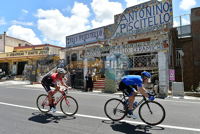 The breakaway including Pavel Brutt (RUS) Gazprom-Rusvelo and Eugenio Alafaci (ITA) Trek-Segafredo during Stage 4 of the 100th edition of the Giro d'Italia 2017, running 181km from Cefalu to Mount Etna, Sicily, Italy. 9th May 2017.<br /> Picture: LaPresse/Fabio Ferrari | Cyclefile<br /> <br /> <br /> All photos usage must carry mandatory copyright credit (&copy; Cyclefile | LaPresse/Fabio Ferrari)