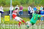 Gneeveguilla's keeper Patrick O'Riordan fails to stop Paidi O'Murchy scoring Dingle's 2nd goal last Sunday afternoon in Gneeveguilla for round 2 of the Garvey's Supervalue County Senior Championship...2nd GOAL