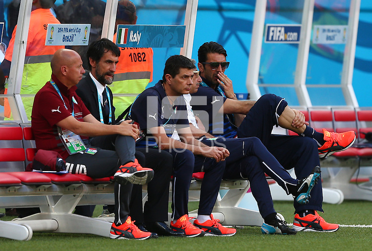 Italy goalkeeper Gianluigi Buffon (right) looks on from the bench before kick off, Buffon misses out through injury