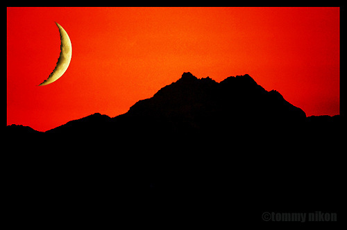 Olympic mountain range sunset, composite with moon.