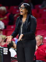 College Park, MD - NOV 21, 2017: Howard Bison head coach  Ty Grace is unhappy with a referees call during the game between the Howard Lady Bison and the Maryland Terrapins at the XFINITY Center in College Park, MD.  (Photo by Phil Peters/Media Images International)