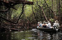 Tourists on a boat, Rio Negro, Amazonas, Brazil.