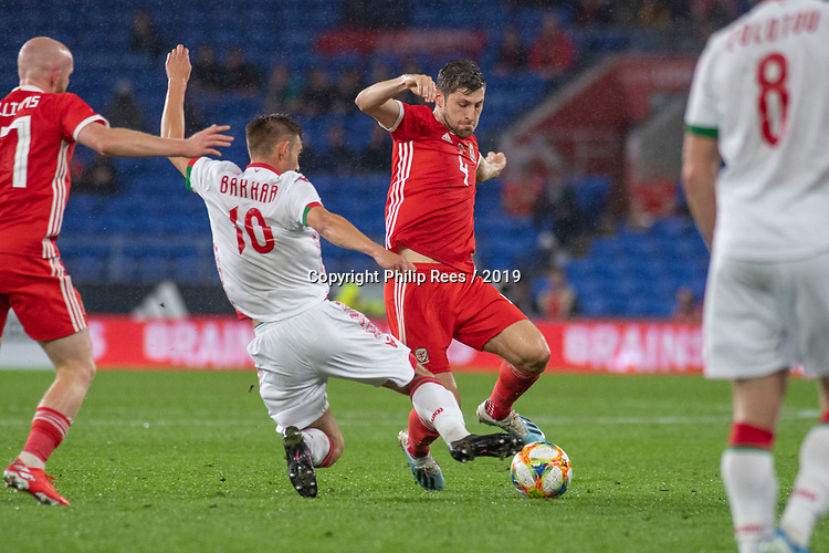 Cardiff - UK - 9th September :<br />Wales v Belarus Friendly match at Cardiff City Stadium.<br />Ben Davies of Wales is tackled by Ivan Bakhar of Belarus.<br />Editorial use only