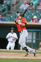 Chad Hinshaw #6 of the Inland Empire 66ers bats during a playoff game against the Lancaster JetHawks at The Hanger on September 7, 2014 in Lancaster, California. Lancaster defeated Inland Empire, 5-2. (Larry Goren/Four Seam Images)