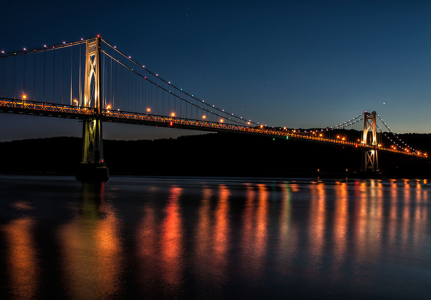 View of the Mid-Hudson Bridge, Poughkeepsie, NY, in the evening after sunset