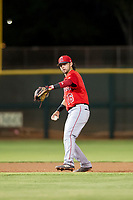 AZL Angels left fielder Stephen Kerr (16) warms up between innings during a game against the AZL Giants on July 10, 2017 at Scottsdale Stadium in Scottsdale, Arizona. AZL Giants defeated the AZL Angels 3-2. (Zachary Lucy/Four Seam Images)