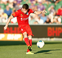 11th January 2020; HBF Park, Perth, Western Australia, Australia; A League Football, Perth Glory versus Adelaide United; Ryan Strain of Adelaide United shoots from outside the box - Editorial Use