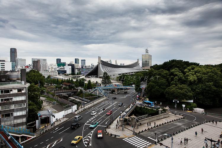 Tokyo, June 22 2013 - Jingubashi near Harajuku train station and Yoyogi National gymnasium in the background.