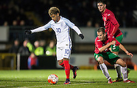 Marcus Edwards (Tottenham Hotspur) of England U19 leaves Bulgaria players standing during an attack on goal during the International friendly match between England U19 and Bulgaria U19 at Adams Park, High Wycombe, England on 10 October 2016. Photo by Andy Rowland.
