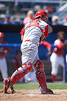 Williamsport Crosscutters catcher Gregori Rivero (26) throws down to second during a game against the Batavia Muckdogs on July 16, 2015 at Dwyer Stadium in Batavia, New York.  Batavia defeated Williamsport 4-2.  (Mike Janes/Four Seam Images)