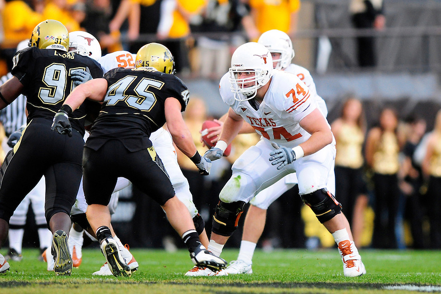 04 October 2008: Texas tackle Adam Ulatoski lines up against Colorado linebacker Jeff Smart (45). The Texas Longhorns defeated the Colorado Buffaloes 38-14 at Folsom Field in Boulder, Colorado. For Editorial Use Only