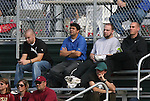 04 November 2009: Saint Louis Athletica head coach Jorge Barcellos (BRA) (in blue) scouts the game. The Florida State University Seminoles defeated the Duke University Blue Devils 2-0 at Koka Booth Stadium in WakeMed Soccer Park in Cary, North Carolina in an Atlantic Coast Conference Women's Soccer Tournament Quarterfinal game.