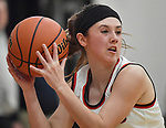 Highland guard Ellie Brown saves a ball from going out of bounds. Highland played Civic Memorial in the Class 3A Effingham sectional championship game at Effingham High School in Effingham, Illinois on Thursday February 27, 2020. <br /> Tim Vizer/Special to STLhighschoolsports.com