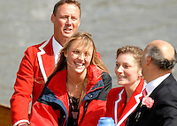 Henley, Great Britain.  Kingston RC,  surpport in the umpires launch, after a heat of the  Thames Challenge Cup, at  Henley Royal Regatta. Henley Reach, England 04.07.2007 [Mandatory credit Peter Spurrier/ Intersport Images]. Rowing Courses, Henley Reach, Henley, ENGLAND . HRR.