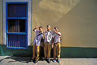 School boys, happy, waving, uniforms, Cuba, Republic of Cuba,
