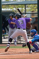 Colorado Rockies third baseman Josh Fuentes (19) during a Minor League Spring Training game against the Chicago Cubs at Sloan Park on March 27, 2018 in Mesa, Arizona. (Zachary Lucy/Four Seam Images)