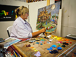 Art in Action with Loretta Armstrong with her whimsical paintings, Sunday at the 80th Amador County Fair, Plymouth, Calif.<br /> .<br /> .<br /> .<br /> .<br /> #AmadorCountyFair, #1SmallCountyFair, #PlymouthCalifornia, #TourAmador, #VisitAmador