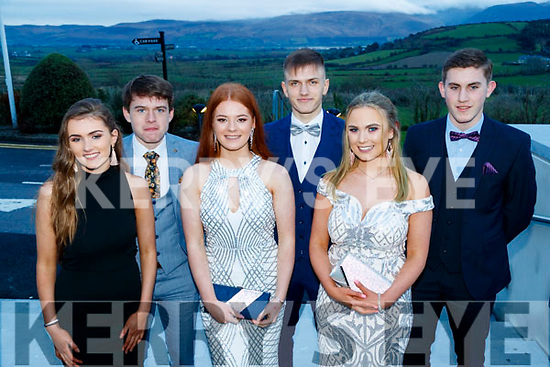 Doireann Collins, Killian Falvey, Amy Finn, Deividas Usosis, Jenna Ferriter and Aaron O'Connor, Pobalscoil Chorca Dhuibhne, pictured at the TY Ball, held at Ballyroe Heights Hotel, Tralee, on Saturday night last.