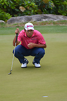 Hideki Matsuyama (JPN) lines up his putt on 2 during day 3 of the WGC Dell Match Play, at the Austin Country Club, Austin, Texas, USA. 3/29/2019.<br /> Picture: Golffile | Ken Murray<br /> <br /> <br /> All photo usage must carry mandatory copyright credit (© Golffile | Ken Murray)