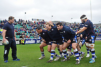 The Bath pack practise their scrummaging during the pre-match warm-up. Amlin Challenge Cup quarter-final, between Bath Rugby and CA Brive on April 6, 2014 at the Recreation Ground in Bath, England. Photo by: Patrick Khachfe / Onside Images