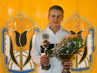 Rotterdam, The Netherlands, 07.03.2014. NOJK ,National Indoor Juniors Championships of 2014, 12and 16 years, Winner boys 16 years Tom Moonen (NED)<br /> Photo:Tennisimages/Henk Koster