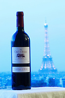 Bottle of Chateau d'Aydie cuvee Ode d'Aydie against a pale blue background view over Paris with the Eiffel Tower Madiran France