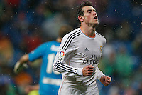 29.03.2014 SPAIN -  La Liga 13/14 Matchday 31th  match played between 5-0 Real Madrid CF vs Rayo Vallecano at Santiago Bernabeu stadium. The picture show Gareth Bale (Wales midfielder of Real Madrid) celebrating his team's goal