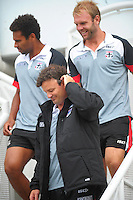 St Kilda coach Scott Watters walks down from the stand with players James Gwilt (left) and Beau Wilkes (right) during the Hurricanes Super 15 rugby training at Hutt Recreation Ground, Lower Hutt, Wellington, New Zealand on Thursday, 24 January 2013. Photo: Dave Lintott / lintottphoto.co.nz