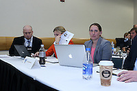 INDIANAPOLIS, IN - January 18, 2013: Boston Breakers technical staff. The National Women's Soccer League held its college draft at the Indiana Convention Center in Indianapolis, Indiana during the NSCAA Annual Convention.