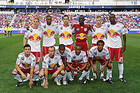 New York Red Bulls starting eleven prior to the start of a friendly between Sanots FC and the New York Red Bulls at Red Bull Arena in Harrison, NJ, on March 20, 2010. The Red Bulls defeated Santos FC 3-1.