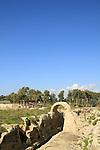 Israel, Carmel Coastal Plain, the Roman aqueduct to Caesarea in Nahal Taninim Nature Reserve