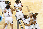 DALLAS, TX - APRIL 2: Members of the South Carolina Gamecocks celebrate during the 2017 Women's Final Four at American Airlines Center on April 2, 2017 in Dallas, Texas. (Photo by Timothy Nwachukwu/NCAA Photos via Getty Images)