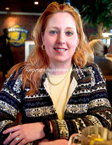WATERTOWN, CT. 09 April 2007-040907SV08--Jennifer Hannah of Waterbury talks about her brain injury during an interview at Chili&rsquo;s restaurant in Waterbury Monday. The Brain Injury Association of Connecticut helps route brain injury victims through what can be a tangle of bureaucracy to get their medical and social needs met.<br /> Steven Valenti Republican-American