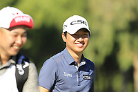 Jeunghun Wang (KOR) and caddy on the 7th green during Saturday's Round 3 of the 2018 Turkish Airlines Open hosted by Regnum Carya Golf &amp; Spa Resort, Antalya, Turkey. 3rd November 2018.<br /> Picture: Eoin Clarke | Golffile<br /> <br /> <br /> All photos usage must carry mandatory copyright credit (&copy; Golffile | Eoin Clarke)