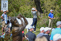 Peter Uihlein (USA) watches his tee shot on 10 with a statue in the foreground during round 1 of the World Golf Championships, Dell Match Play, Austin Country Club, Austin, Texas. 3/21/2018.<br /> Picture: Golffile | Ken Murray<br /> <br /> <br /> All photo usage must carry mandatory copyright credit (&copy; Golffile | Ken Murray)