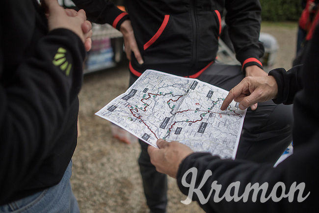 Team Trek-Segafredo preparing the 2017 Strade Bianche recon (the day before the race)